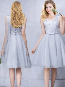 One Shoulder Grey Tulle Lace Up Wedding Party Dress Sleeveless Knee Length Lace and Appliques and Belt