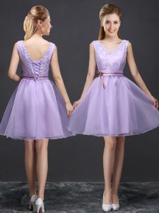 Pretty Lavender Sleeveless Organza Lace Up Bridesmaid Gown for Prom and Party and Wedding Party