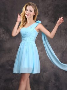 Fabulous One Shoulder Baby Blue Sleeveless Chiffon Zipper Quinceanera Court of Honor Dress for Prom and Party and Weddin