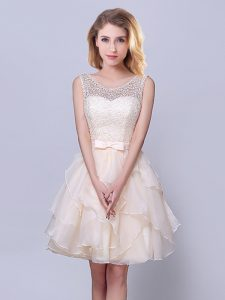 Scoop Mini Length Champagne Quinceanera Court of Honor Dress Organza Sleeveless Lace and Ruffles and Belt