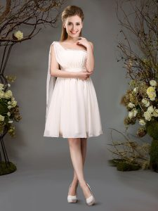 Glorious One Shoulder Champagne Chiffon Zipper Damas Dress Sleeveless Mini Length Beading and Ruching