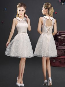 Extravagant Champagne Sleeveless Lace and Appliques Knee Length Quinceanera Court of Honor Dress