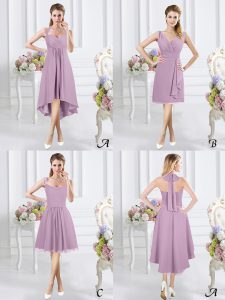 Chic Halter Top Sleeveless High Low Ruching Zipper Bridesmaid Dresses with Lavender