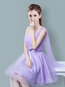 Elegant One Shoulder Sleeveless Ruching and Bowknot Zipper Quinceanera Dama Dress