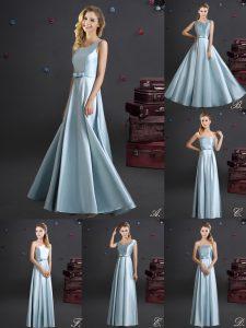 Square Elastic Woven Satin Sleeveless Floor Length Vestidos de Damas and Bowknot