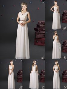 Fitting Chiffon Sleeveless Floor Length Bridesmaids Dress and Lace and Appliques and Belt