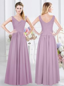 Lavender Damas Dress Prom and Party and Wedding Party and For with Ruching Sleeveless Zipper