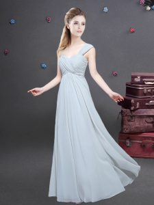 One Shoulder Grey Zipper Wedding Guest Dresses Ruching Sleeveless Floor Length