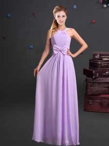Colorful Lavender Empire Chiffon Halter Top Sleeveless Ruching and Bowknot Floor Length Zipper Bridesmaid Dress
