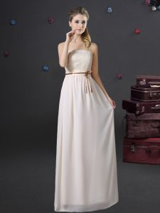 Admirable Lace and Belt Bridesmaid Dress White Lace Up Sleeveless Floor Length
