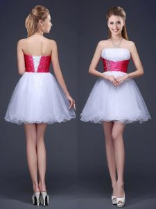 Mini Length Lace Up Vestidos de Damas White for Prom and Party with Beading and Ruching and Belt