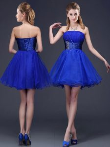 Noble Sleeveless Mini Length Beading and Ruching Lace Up Bridesmaid Dress with Royal Blue