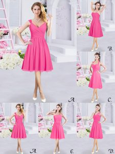 A-line Quinceanera Court Dresses Hot Pink Straps Chiffon Sleeveless Knee Length Zipper