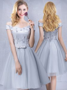 Custom Made Off the Shoulder Grey A-line Appliques and Belt Bridesmaids Dress Lace Up Tulle Sleeveless Knee Length