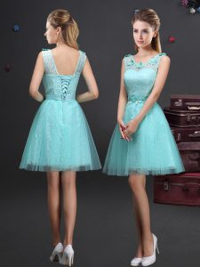 Free and Easy Scoop Sleeveless Lace and Appliques and Belt Lace Up Damas Dress