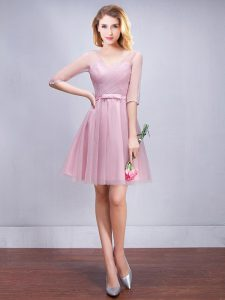 Fancy V-neck Half Sleeves Damas Dress Mini Length Ruching and Bowknot Pink Tulle