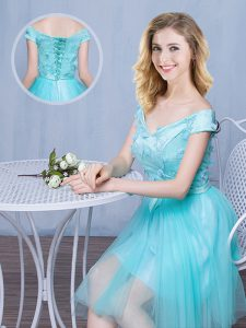 Hot Selling Off the Shoulder Knee Length Aqua Blue Bridesmaids Dress Tulle Cap Sleeves Lace and Appliques and Bowknot