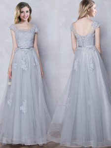 Grey Scoop Lace Up Lace and Appliques and Belt Vestidos de Damas Cap Sleeves