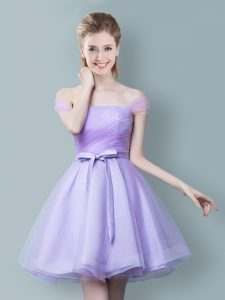 Dazzling Off the Shoulder Lavender Sleeveless Ruching and Bowknot Knee Length Wedding Guest Dresses