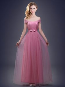 Custom Design Pink Damas Dress Prom and Party and Wedding Party and For with Ruching and Bowknot Off The Shoulder Sleeve