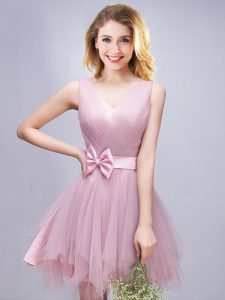 Sleeveless Tulle Mini Length Lace Up Dama Dress for Quinceanera in Pink with Ruffles and Ruching and Bowknot