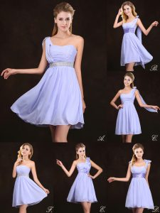 Beautiful Mini Length Lavender Dama Dress for Quinceanera Chiffon Sleeveless Ruffles and Sequins and Ruching and Bowknot