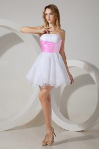 Decent Strapless Sleeveless Zipper Quinceanera Dama Dress White Organza