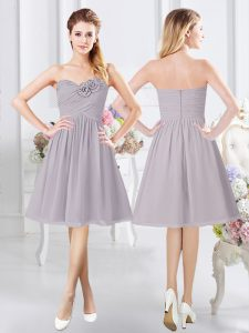 Grey A-line Ruching and Hand Made Flower Dama Dress Zipper Chiffon Sleeveless Knee Length
