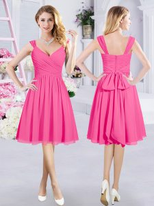 Knee Length A-line Sleeveless Hot Pink Bridesmaids Dress Zipper