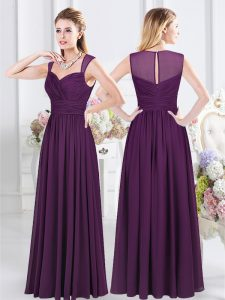 Straps Purple Chiffon Zipper Quinceanera Court Dresses Sleeveless Floor Length Ruching