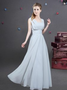 Artistic Square Grey Sleeveless Chiffon Zipper Bridesmaid Dress for Prom and Party and Wedding Party