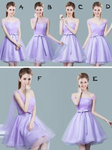 Lavender Bridesmaids Dress Prom and Party and Wedding Party and For with Ruching and Bowknot Straps Cap Sleeves Zipper