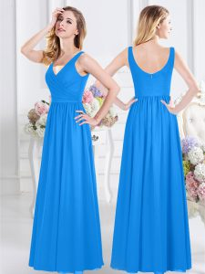 Deluxe Baby Blue Zipper Dama Dress for Quinceanera Ruching Sleeveless Floor Length