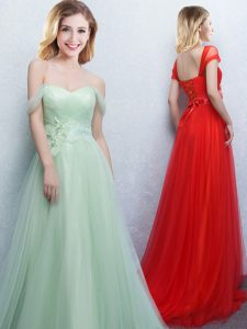 Apple Green Lace Up Off The Shoulder Appliques and Ruching Vestidos de Damas Tulle Sleeveless Brush Train