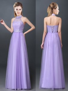 Halter Top Lavender Tulle Lace Up Dama Dress for Quinceanera Sleeveless Floor Length Lace and Appliques