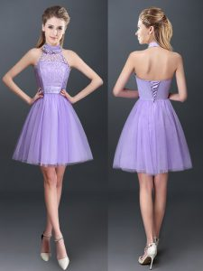 Romantic Lavender Halter Top Lace Up Lace and Appliques Quinceanera Court of Honor Dress Sleeveless