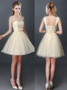 Clearance Scoop Sleeveless Tulle Mini Length Lace Up Wedding Guest Dresses in Champagne with Lace and Hand Made Flower