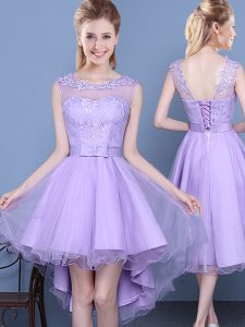 Scoop Sleeveless Lace Up Dama Dress Lavender Organza