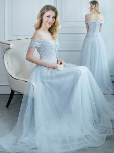 Tulle Off The Shoulder Cap Sleeves Lace Up Beading and Appliques Dama Dress in Light Blue
