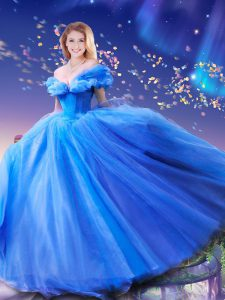Suitable Cinderella Royal Blue Quinceanera Dress Sweet 16 and Quinceanera and For with Beading and Bowknot Off The Shoul