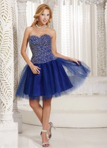 New Royal Blue Sweetheart Mini-length Tulle Celebrity Party Dress with Beading