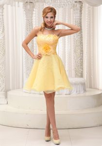 Shell Neckline Knee-length Yellow Organza Beaded Celebrity Dress with Flower