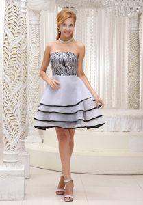 Strapless Knee-length White and Black Organza Zebra Layered Celebrity Dresses