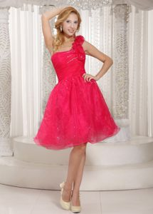 One Shoulder Knee-length Hot Pink Beaded Organza Celebrity Dress with Flower