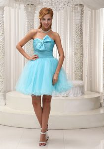 Strapless Mini-length Aqua Blue Tulle Celebrity Dress with Ruching and Bowknot
