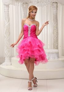 Chic Hot Pink Sweetheart Knee-length Celebrity Dress with Beading and Ruffles