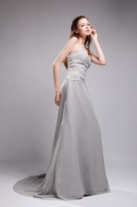 Gray Sweetheart Brush Train Chiffon Celebrity Dress with Ruching and Appliques