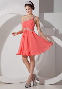 One Shoulder Mini-length Watermelon Ruched Celebrity Dresses with Beading