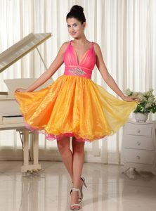 V-neck Straps Knee-length Yellow and Pink Beaded Organza Celebrity Dresses