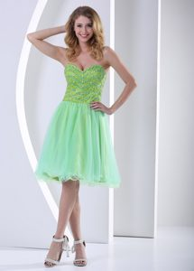 Sweetheart Knee-length Light Green Tulle Celebrity Dress with Beading for Cheap